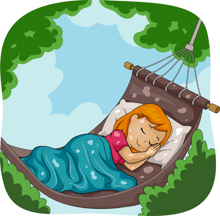 Illustration of a Kid Girl Sleeping Outdoors in the Garden in a Hammock Stock Photo