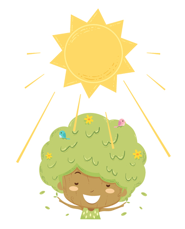 Illustration of a Kid Girl Tree Basking and Enjoying the Sun