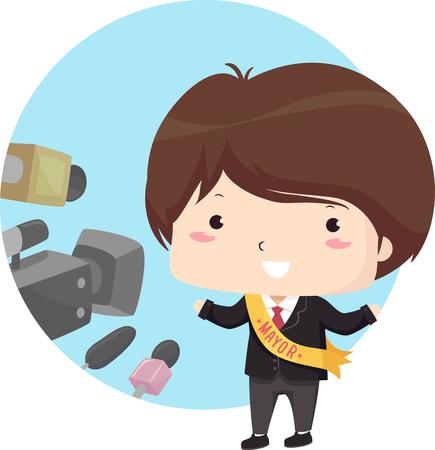 Illustration of a Kid Boy Being Interviewed Wearing a Mayor Sash