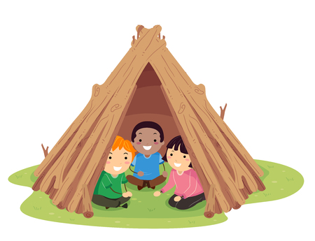 Illustration of Stickman Kids Playing Inside a Backyard Garden Teepee