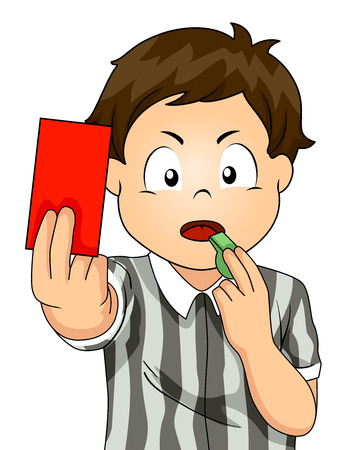 Illustration of a Kid Boy Referee Blowing a Whistle and Holding a Red Card Stok Fotoğraf
