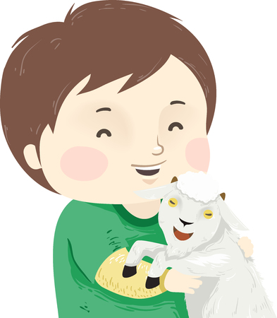 Illustration of a Kid Boy Hugging a Pet Goat in the Farm