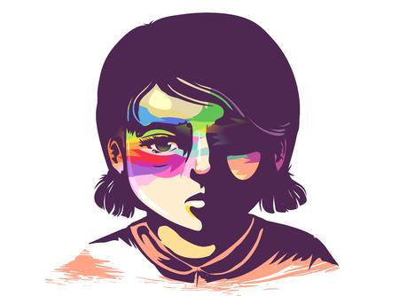 Illustration of a Sad Kid Girl with Rainbow Pattern on Eyes Area