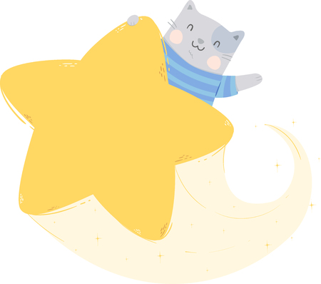 Illustration of a Cat Waving Hello and Riding a Star