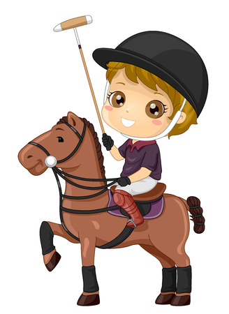 Illustration of a Kid Boy Riding a Horse and Playing Polo