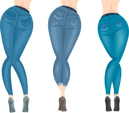 Illustration of Different Colored Jeans and High Heel Shoes Worn by Three Girls Stock Photo