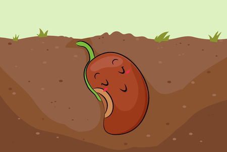 Illustration of a Sleeping Mascot Seed Planted in the Soil Waiting for Growth. Gardening