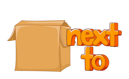 Illustration of a Box and a Next To Preposition as Part of English Lesson