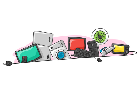 Illustration of Different Home Appliances Behind an Electrical Plug from Television, Refrigerator, Washing Machine, Computer, Electric Fan, Iron and Microwave