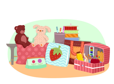 Illustration of Sewn Toys and Bags with Ribbons and Sewing Notions