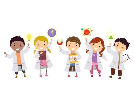 Ilustracja przedstawiająca dzieci Stickmana w białej sukni laboratoryjnej z elementami fizyki od żarówki, magnesu do kolby Zdjęcie Seryjne