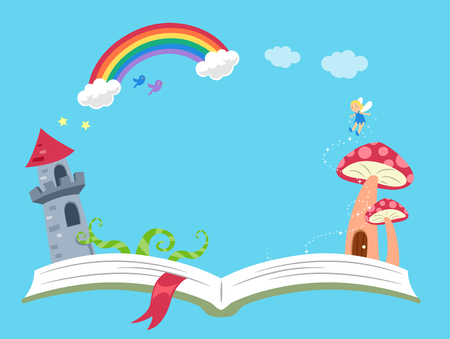 Background Illustration of an Open Book with Castle Tower, Mushroom House, Fairy and Rainbow Frame