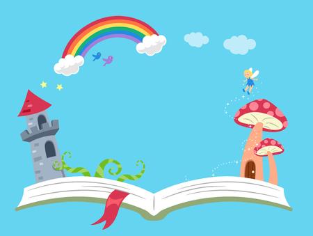 Illustration de fond d'un livre ouvert avec la tour du château, la maison champignon, la fée et le cadre arc-en-ciel