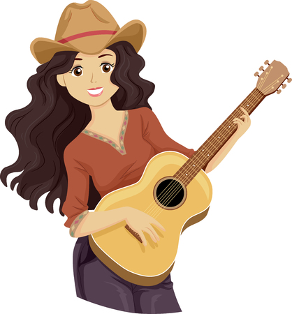 Illustration of a Teenage Girl Wearing Cowboy Hat and Playing the Guitar