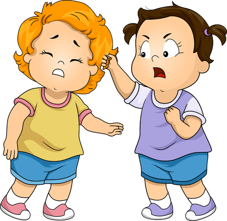 Illustration of Toddler Kids Girls Fighting with One Pulling Hair of the Other