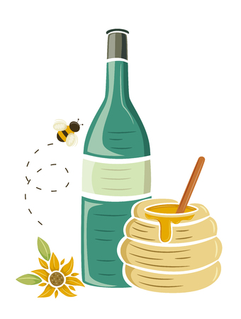 Illustration of a Bee, Sunflower, Bottle of Mead and a Jar of Honey
