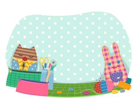 Illustration of Different Dolls and Bags and Sewing Notions from Threads, Scissors, Needles, Buttons and Pins