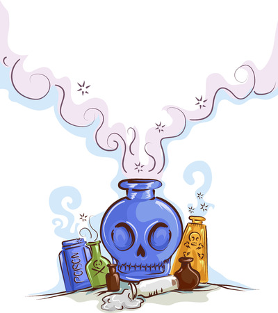 Illustration of Poison in Different Antique Bottles with Smoke Coming Out