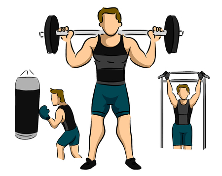 Illustration of a Man Working Out in the Gym by Barbells, Boxing and Lateral Pull Down for Body Building