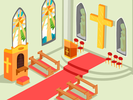 Illustration of a Church Interior with the Cross, Altar, Benches and Confession Box