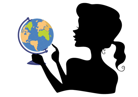 Illustration of a Silhouette of a Girl Holding a Globe and Pointing to a Country She Would Like to Travel 版權商用圖片