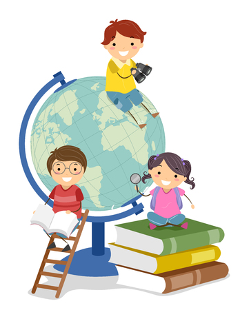 Illustration of Stickman Kids with Books and Globe Studying Geography
