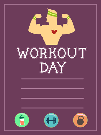 Illustration of a Workout Sheet for Body Building with a Man Flexing Arms, Drinks, Dumbbell and Kettlebell Icon Stock Photo