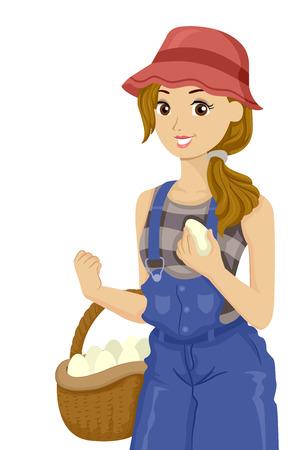 Illustration eines Teenager-Mädchens, das einen Korb voller Eier hält, die sie auf dem Bauernhof gesammelt hat