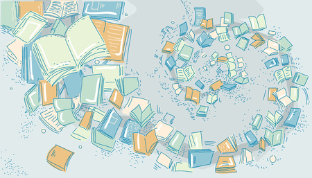 Illustration of Several Open and Closed Books Swirling Out