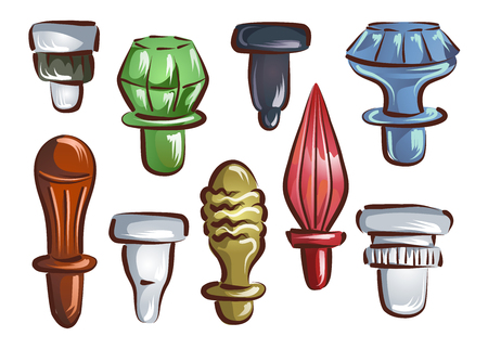 Illustration of Different Glass Stoppers in Different Shapes and Colors for Bottle Collection Banco de Imagens