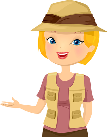Illustration of a Girl Wearing Safari Hat Speaking and Working as a Tour Guide