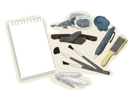 Illustration of Charcoal Painting Elements from Charcoal Sticks, Brushes, Kneaded Eraser, Sanding Block and Paper Zdjęcie Seryjne