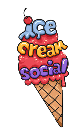 Illustration of an Ice Cream on Cone with Cherry On Top and Ice Cream Social Lettering Archivio Fotografico