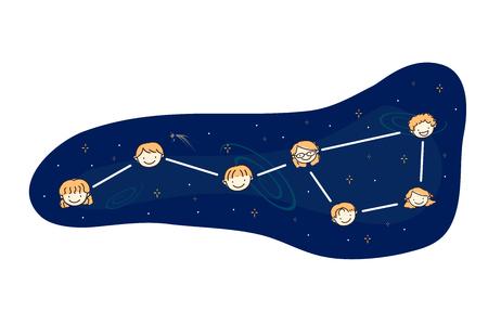 Illustration of Stickman Kids Heads Forming Stars of a Big Dipper