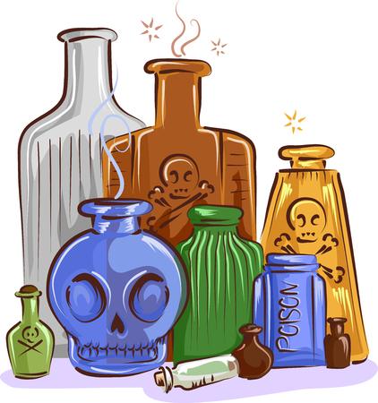 Illustration of Different Poison In Different Antique Bottles