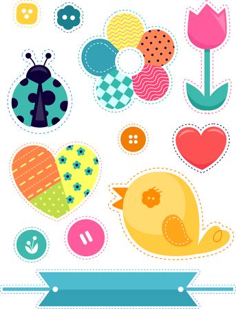 Illustratie van verschillende patchontwerpen van lieveheersbeestje, bloem, hart, vogel, knopen en linten