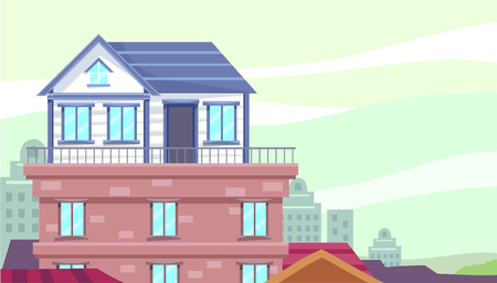 Illustration of a Small House Built on the Rooftop of a Building