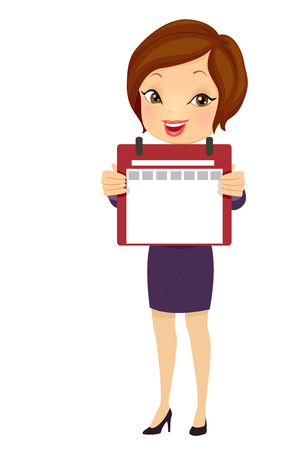 Illustration of a Business Girl Holding a Blank Daily Calendar