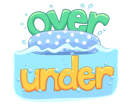 Illustration of Over and Under Water as Part of English Lesson