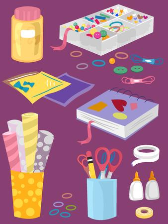 Illustrazione di diversi elementi di artigianato da bottoni, involucro, carta, colla, nastro adesivo e adesivi