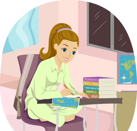 Illustration of a Teenage Girl Sitting at Home Writing about Countries She Would Like to Visit
