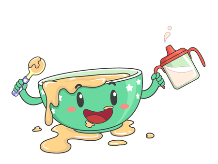 Illustration of a Messy Toddler Bowl Mascot Holding a Spoon and Sippy Cup