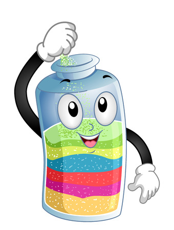 Illustration of a Sand Bottle Mascot Pouring Colored Sand Inside