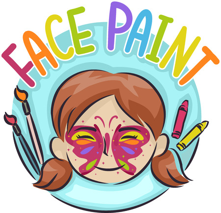 Illustration of a Kid Girl with Butterfly Paint and Face Paint Lettering