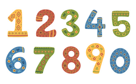 Illustration of Numbers One to Ten in Different Native American Patterns