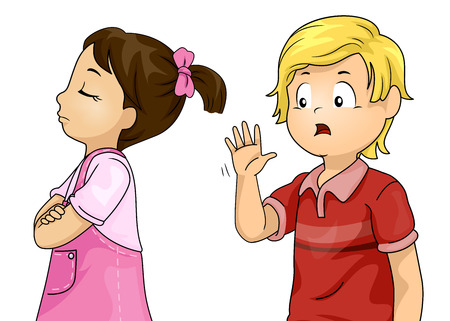 Illustration of a Kid Girl Ignoring a Kid Boy Saying Hello