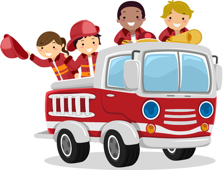 Illustration of Stickman Kids as Fireman Riding a Fire Truck