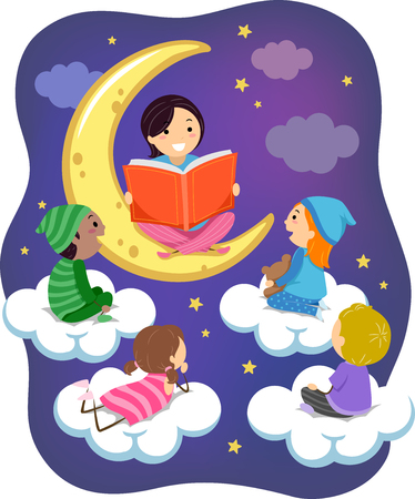 Illustration of Stickman Teacher and Kids Wearing Pajamas Reading a Book on Clouds and the Moon