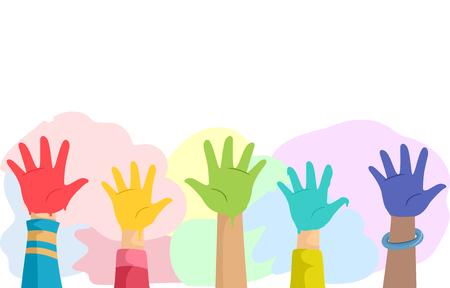 Illustration of Kids Hands Covered with Different Colors of Paint for Hand Painting