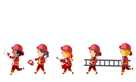 Illustration of Stickman Kids as Fireman Holding a Megaphone, First Aid Kit, Fire Extinguisher and Ladder